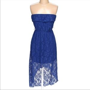 Vintage Blue Lace Strapless Dress